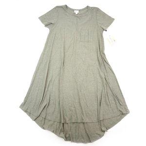 LuLaRoe Carly High Low Swing Dress Heather Green